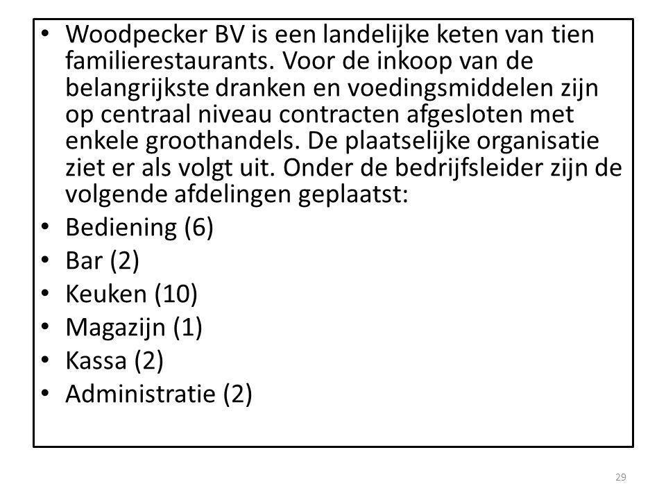 Woodpecker BV is een landelijke keten van tien familierestaurants. Voor de inkoop van de belangrijkste dranken en voedingsmiddelen zijn op centraal ni
