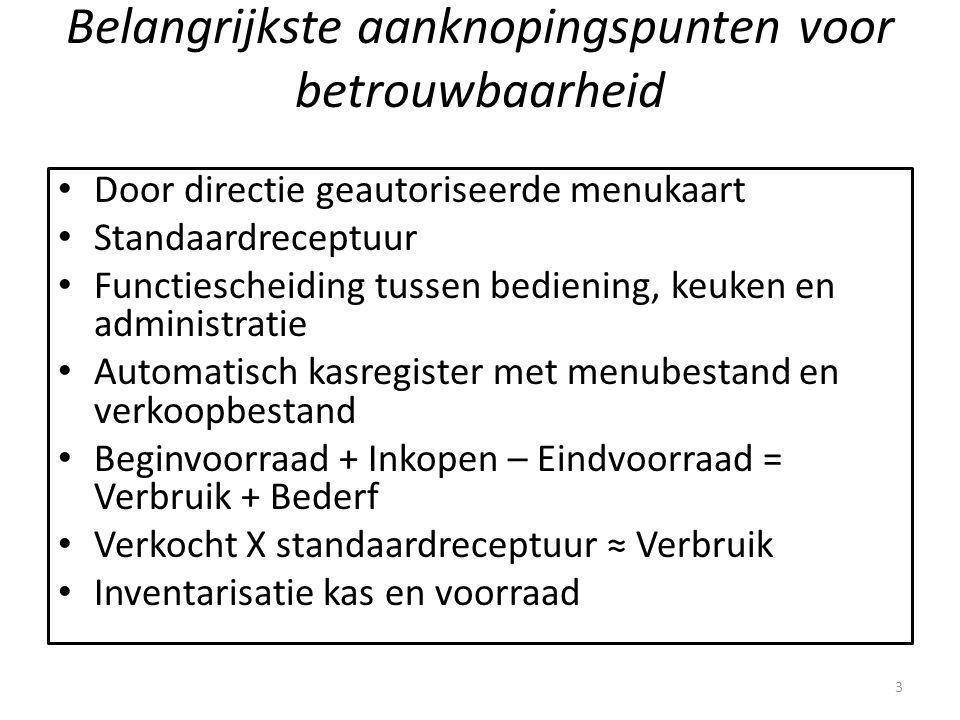 Belangrijkste aanknopingspunten voor betrouwbaarheid Door directie geautoriseerde menukaart Standaardreceptuur Functiescheiding tussen bediening, keuk