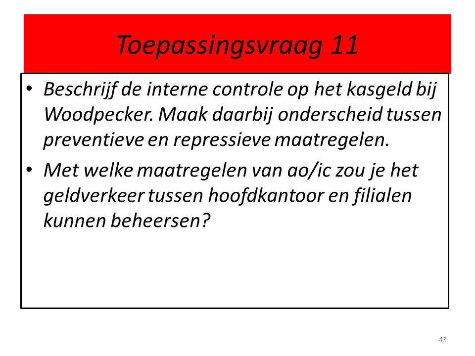 Toepassingsvraag 11 Beschrijf de interne controle op het kasgeld bij Woodpecker. Maak daarbij onderscheid tussen preventieve en repressieve maatregele