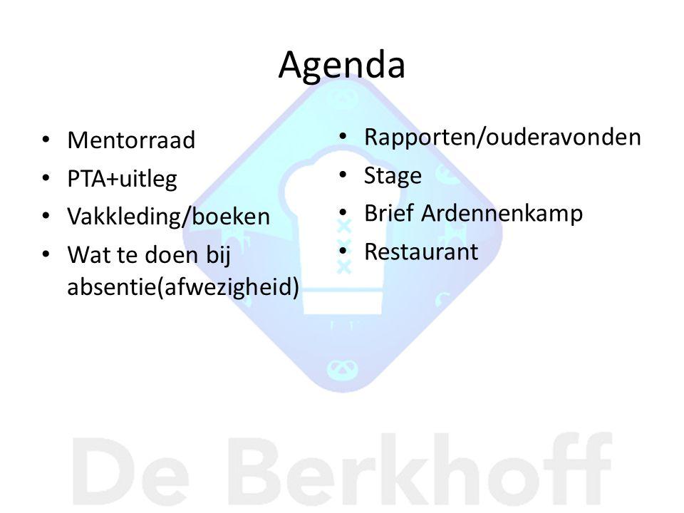 Agenda Mentorraad PTA+uitleg Vakkleding/boeken Wat te doen bij absentie(afwezigheid) Rapporten/ouderavonden Stage Brief Ardennenkamp Restaurant