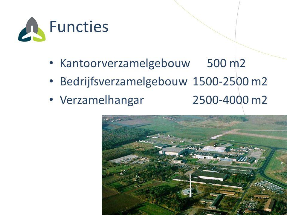Functies Kantoorverzamelgebouw 500 m2 Bedrijfsverzamelgebouw 1500-2500 m2 Verzamelhangar 2500-4000 m2