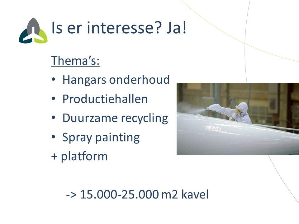 Is er interesse? Ja! Thema's: Hangars onderhoud Productiehallen Duurzame recycling Spray painting + platform -> 15.000-25.000 m2 kavel
