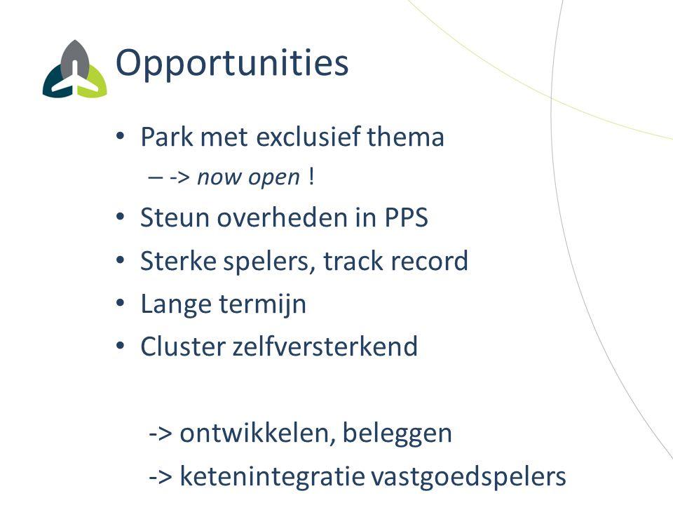 Opportunities Park met exclusief thema – -> now open ! Steun overheden in PPS Sterke spelers, track record Lange termijn Cluster zelfversterkend -> on
