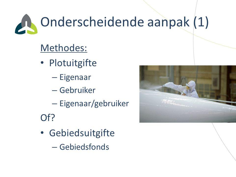 Onderscheidende aanpak (1) Methodes: Plotuitgifte – Eigenaar – Gebruiker – Eigenaar/gebruiker Of? Gebiedsuitgifte – Gebiedsfonds