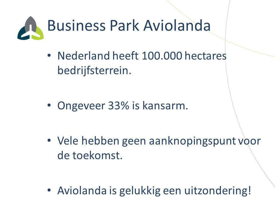 Business Park Aviolanda Nederland heeft 100.000 hectares bedrijfsterrein. Ongeveer 33% is kansarm. Vele hebben geen aanknopingspunt voor de toekomst.