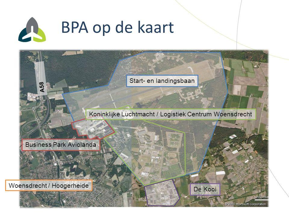 BPA op de kaart Start- en landingsbaan Woensdrecht / Hoogerheide A58 Business Park Aviolanda Koninklijke Luchtmacht / Logistiek Centrum Woensdrecht De