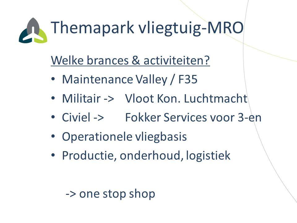 Themapark vliegtuig-MRO Welke brances & activiteiten? Maintenance Valley / F35 Militair -> Vloot Kon. Luchtmacht Civiel -> Fokker Services voor 3-en O