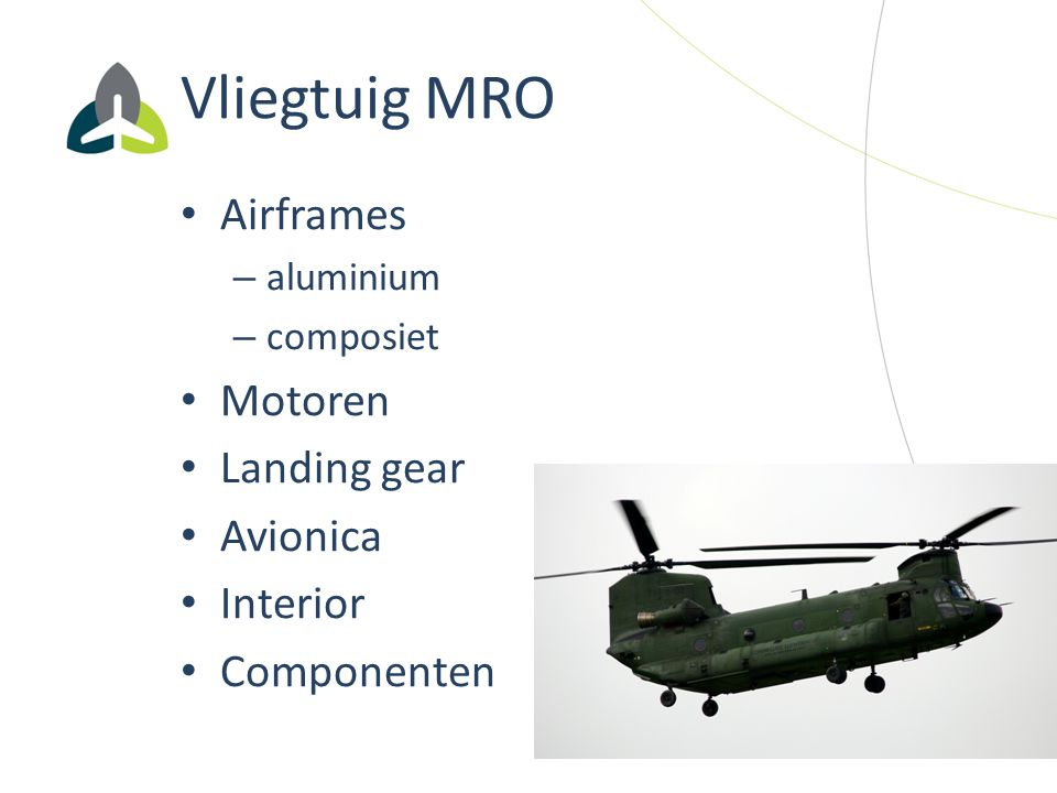 Vliegtuig MRO Airframes – aluminium – composiet Motoren Landing gear Avionica Interior Componenten