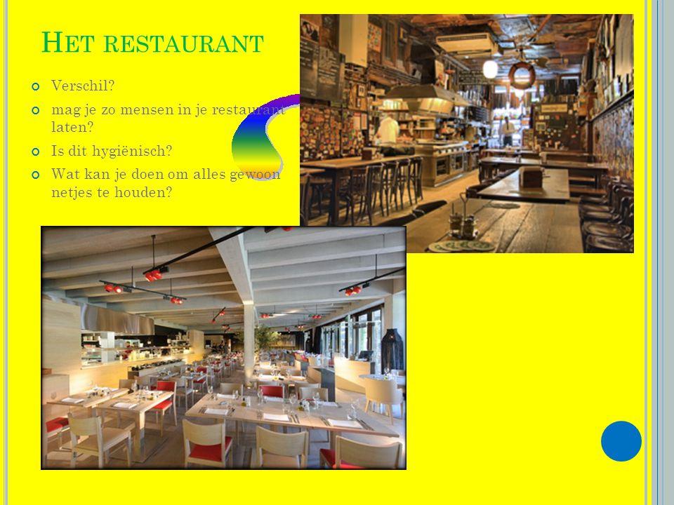 H ET RESTAURANT Verschil.mag je zo mensen in je restaurant laten.