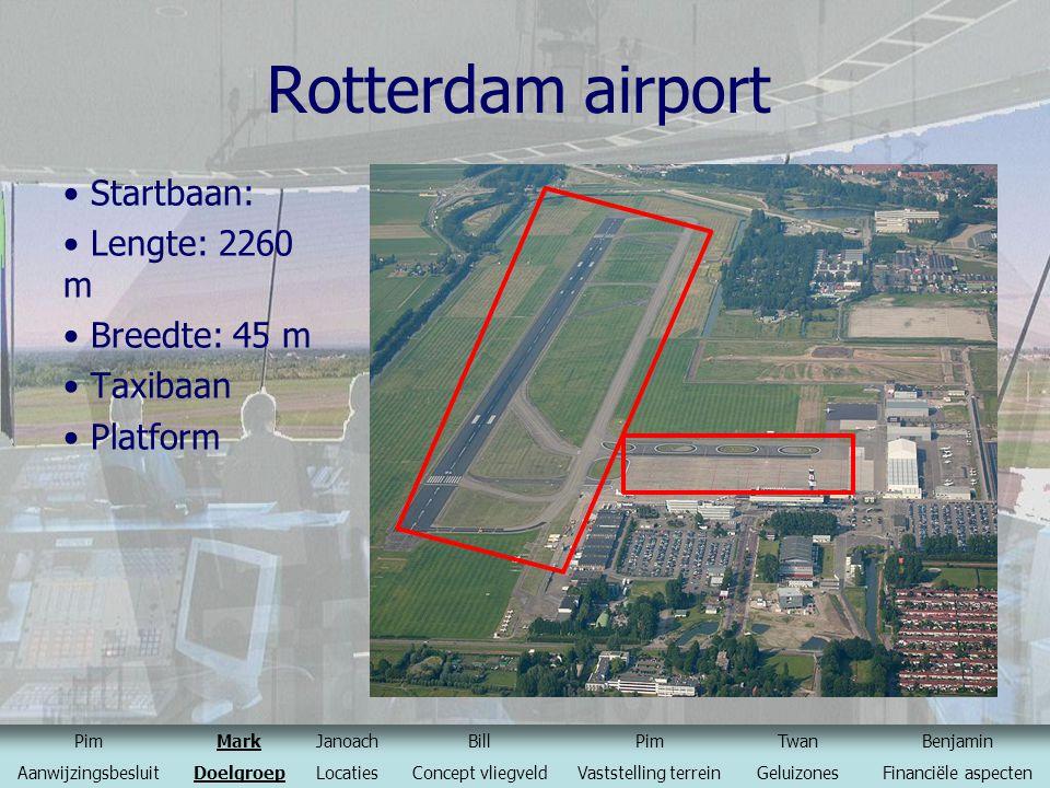 Rotterdam airport Startbaan: Lengte: 2260 m Breedte: 45 m Taxibaan Platform PimMarkJanoachBillPimTwanBenjamin AanwijzingsbesluitDoelgroepLocatiesConce