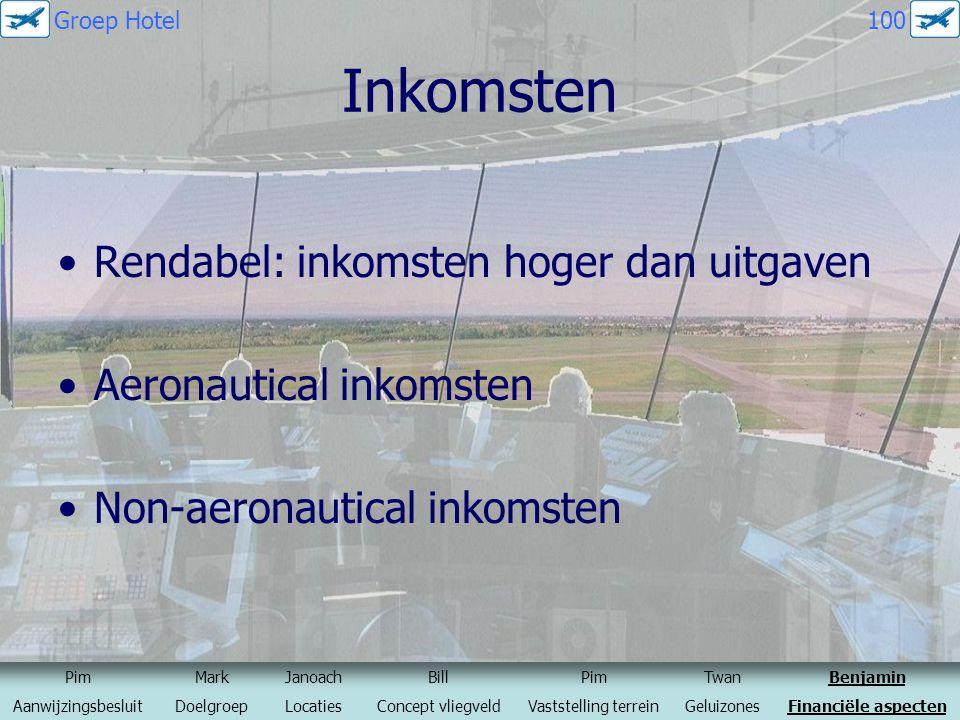 Inkomsten Rendabel: inkomsten hoger dan uitgaven Aeronautical inkomsten Non-aeronautical inkomsten PimMarkJanoachBillPimTwanBenjamin Aanwijzingsbeslui