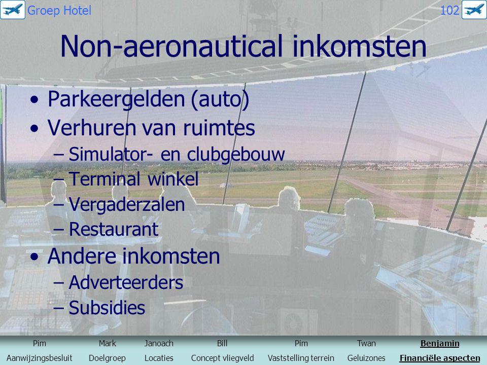 Non-aeronautical inkomsten Parkeergelden (auto) Verhuren van ruimtes –Simulator- en clubgebouw –Terminal winkel –Vergaderzalen –Restaurant Andere inko