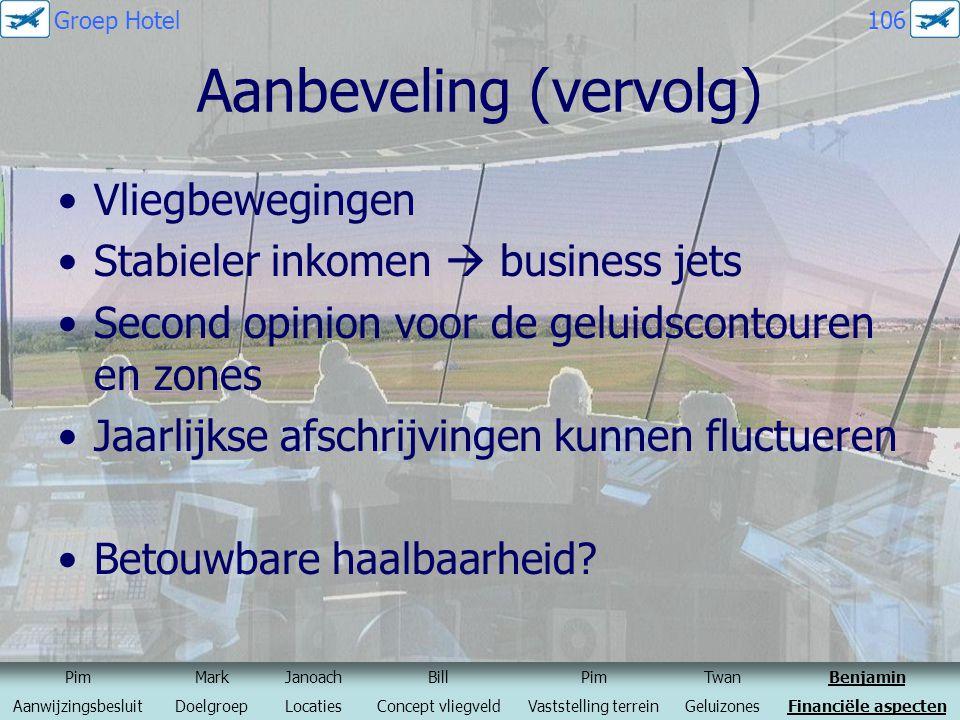Aanbeveling (vervolg) Vliegbewegingen Stabieler inkomen  business jets Second opinion voor de geluidscontouren en zones Jaarlijkse afschrijvingen kun