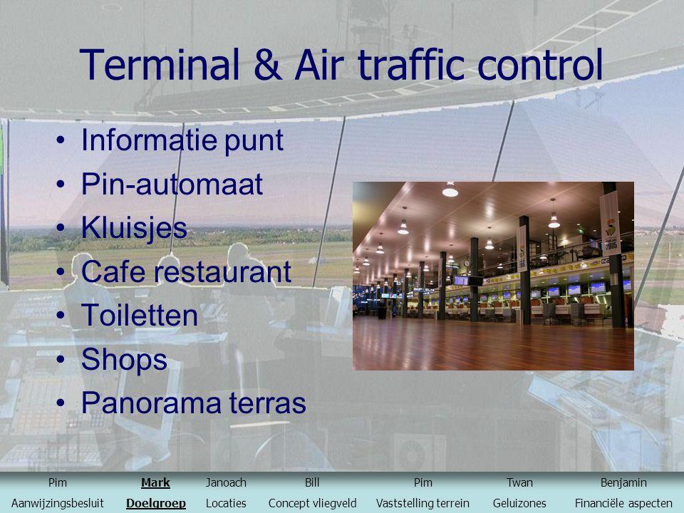 Terminal & Air traffic control Informatie punt Pin-automaat Kluisjes Cafe restaurant Toiletten Shops Panorama terras PimMarkJanoachBillPimTwanBenjamin
