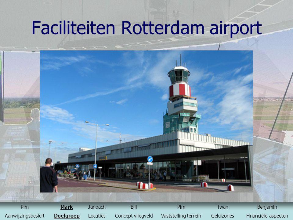 Faciliteiten Rotterdam airport PimMarkJanoachBillPimTwanBenjamin AanwijzingsbesluitDoelgroepLocatiesConcept vliegveldVaststelling terreinGeluizonesFin