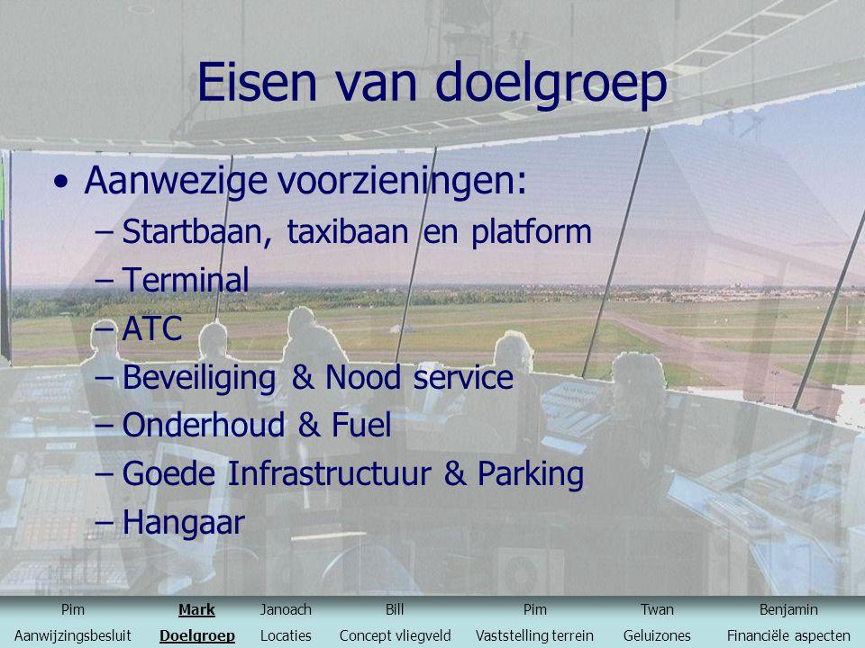 Eisen van doelgroep Aanwezige voorzieningen: –Startbaan, taxibaan en platform –Terminal –ATC –Beveiliging & Nood service –Onderhoud & Fuel –Goede Infr