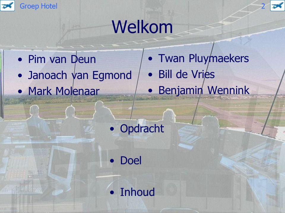 Welkom Pim van Deun Janoach van Egmond Mark Molenaar Twan Pluymaekers Bill de Vries Benjamin Wennink Opdracht Doel Inhoud Groep Hotel 2