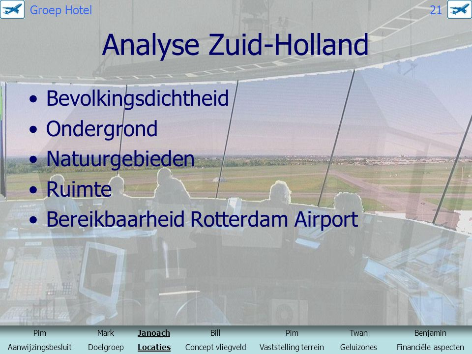 Analyse Zuid-Holland Bevolkingsdichtheid Ondergrond Natuurgebieden Ruimte Bereikbaarheid Rotterdam Airport PimMarkJanoachBillPimTwanBenjamin Aanwijzin