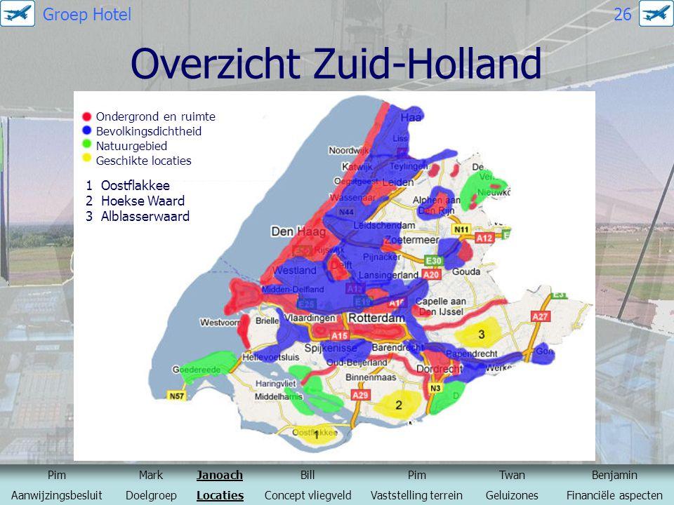 Overzicht Zuid-Holland Ondergrond en ruimte Bevolkingsdichtheid Natuurgebied Geschikte locaties 1 Oostflakkee 2 Hoekse Waard 3 Alblasserwaard PimMarkJ