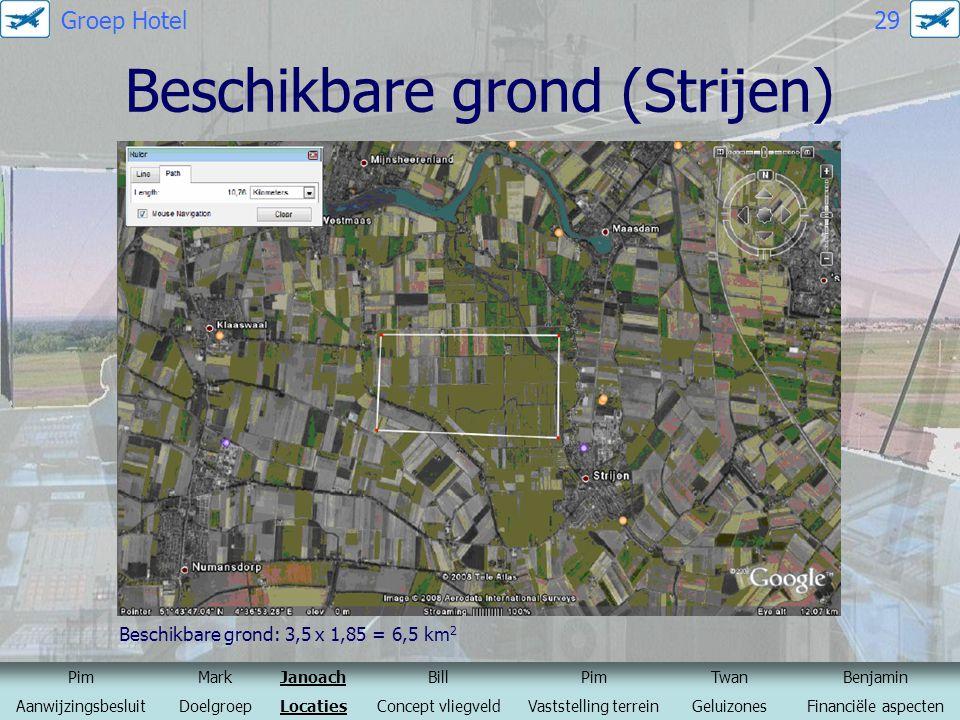 Beschikbare grond (Strijen) Beschikbare grond: 3,5 x 1,85 = 6,5 km 2 Bron: Google maps PimMarkJanoachBillPimTwanBenjamin AanwijzingsbesluitDoelgroepLo