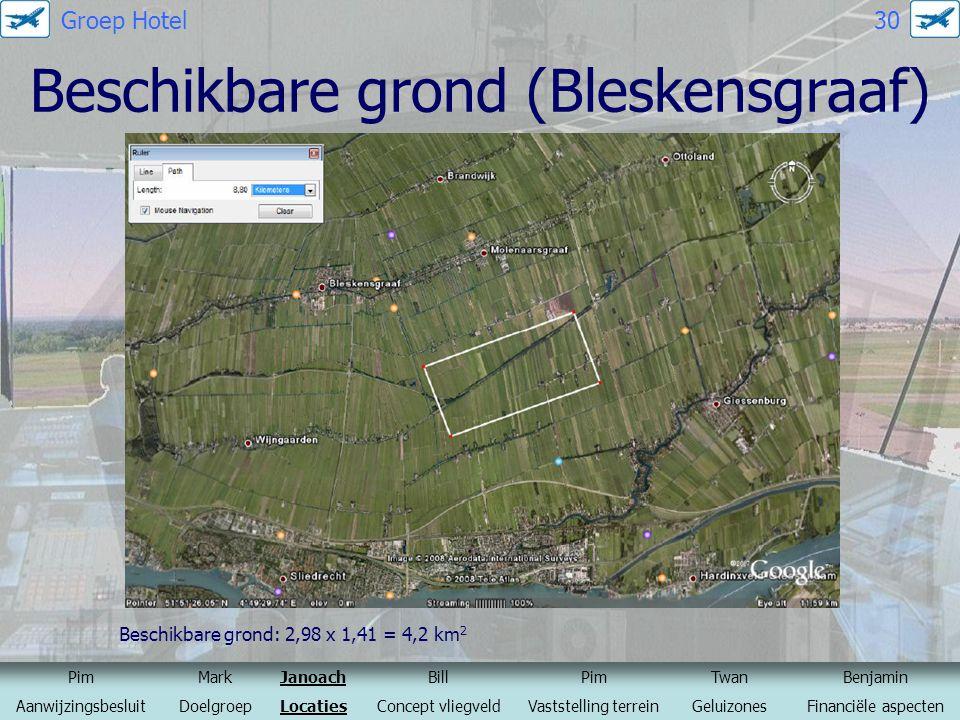 Beschikbare grond (Bleskensgraaf) Beschikbare grond: 2,98 x 1,41 = 4,2 km 2 Bron: Google maps PimMarkJanoachBillPimTwanBenjamin AanwijzingsbesluitDoel