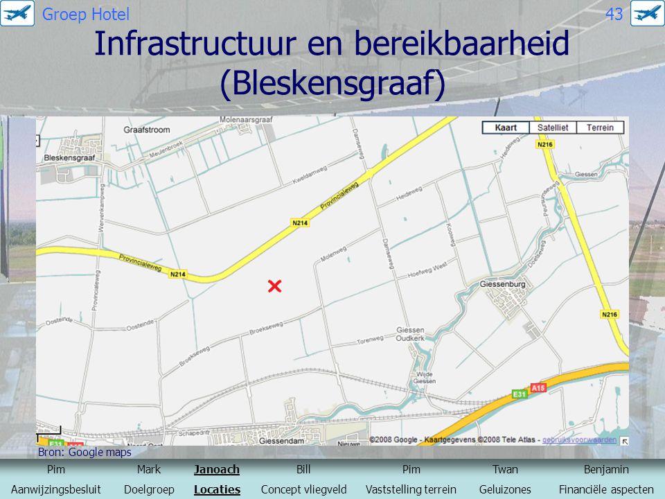 Infrastructuur en bereikbaarheid (Bleskensgraaf) Bron: Google maps PimMarkJanoachBillPimTwanBenjamin AanwijzingsbesluitDoelgroepLocatiesConcept vliegv