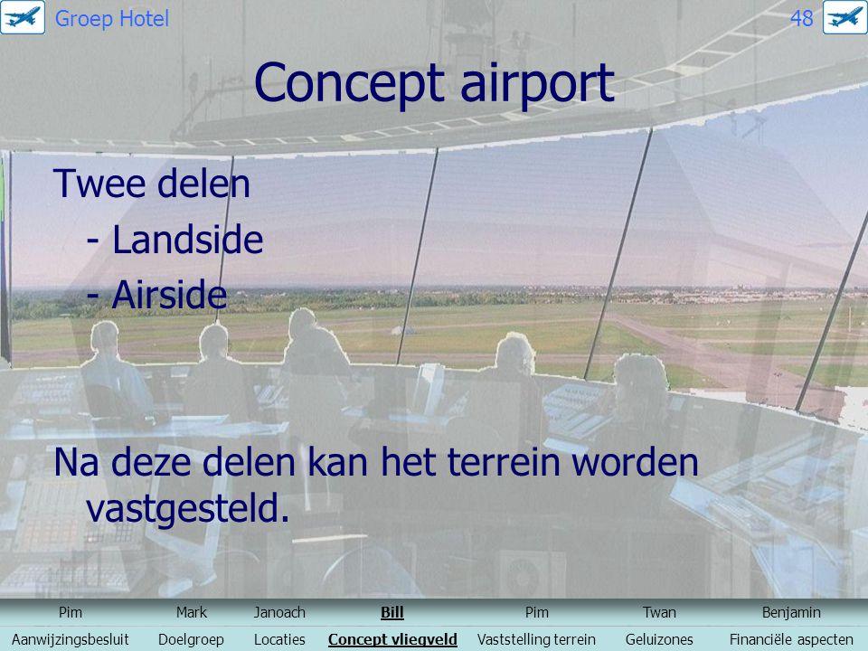 Concept airport Twee delen - Landside - Airside Na deze delen kan het terrein worden vastgesteld. PimMarkJanoachBillPimTwanBenjamin Aanwijzingsbesluit