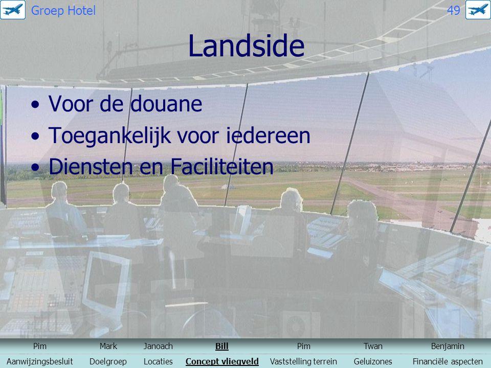 Landside Voor de douane Toegankelijk voor iedereen Diensten en Faciliteiten PimMarkJanoachBillPimTwanBenjamin AanwijzingsbesluitDoelgroepLocatiesConce