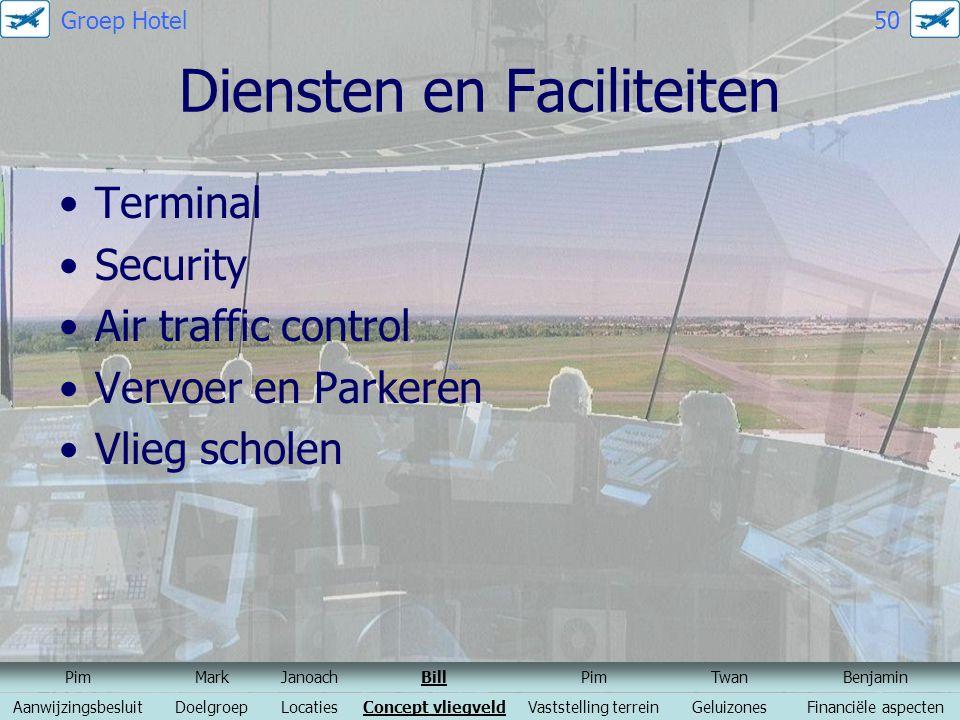 Diensten en Faciliteiten Terminal Security Air traffic control Vervoer en Parkeren Vlieg scholen PimMarkJanoachBillPimTwanBenjamin AanwijzingsbesluitD