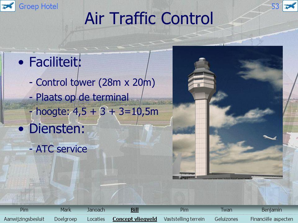 Air Traffic Control Faciliteit: - Control tower (28m x 20m) - Plaats op de terminal - hoogte: 4,5 + 3 + 3=10,5m Diensten: - ATC service PimMarkJanoach