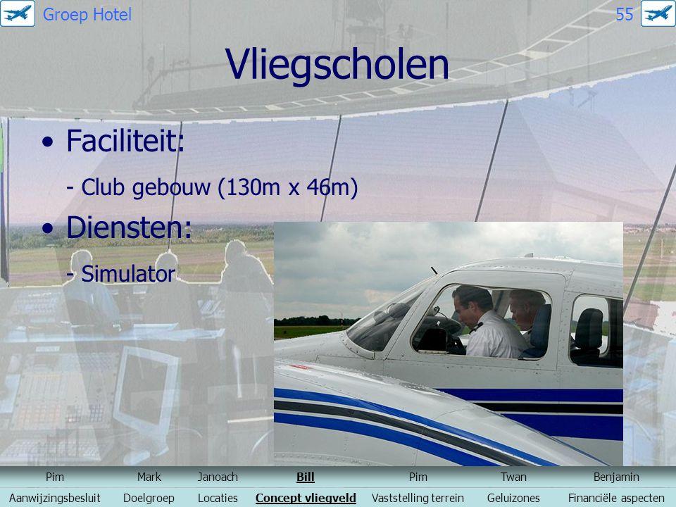 Vliegscholen Faciliteit: - Club gebouw (130m x 46m) Diensten: - Simulator PimMarkJanoachBillPimTwanBenjamin AanwijzingsbesluitDoelgroepLocatiesConcept