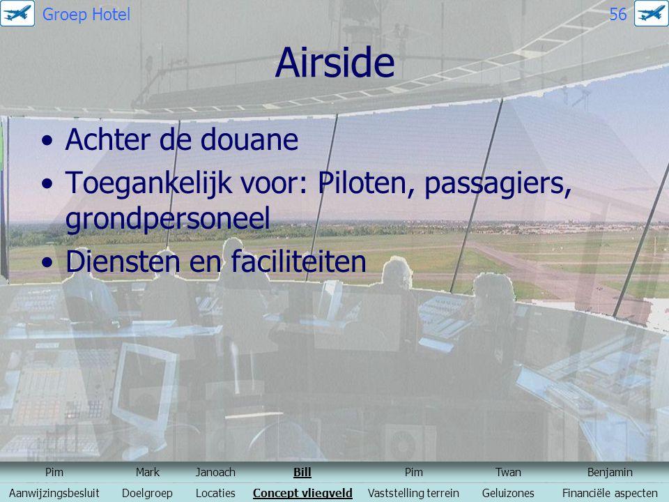 Airside Achter de douane Toegankelijk voor: Piloten, passagiers, grondpersoneel Diensten en faciliteiten PimMarkJanoachBillPimTwanBenjamin Aanwijzings