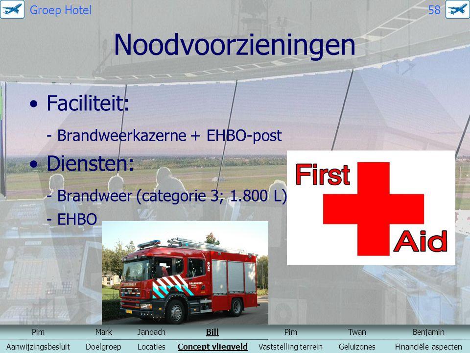 Noodvoorzieningen Faciliteit: - Brandweerkazerne + EHBO-post Diensten: - Brandweer (categorie 3; 1.800 L) - EHBO PimMarkJanoachBillPimTwanBenjamin Aan