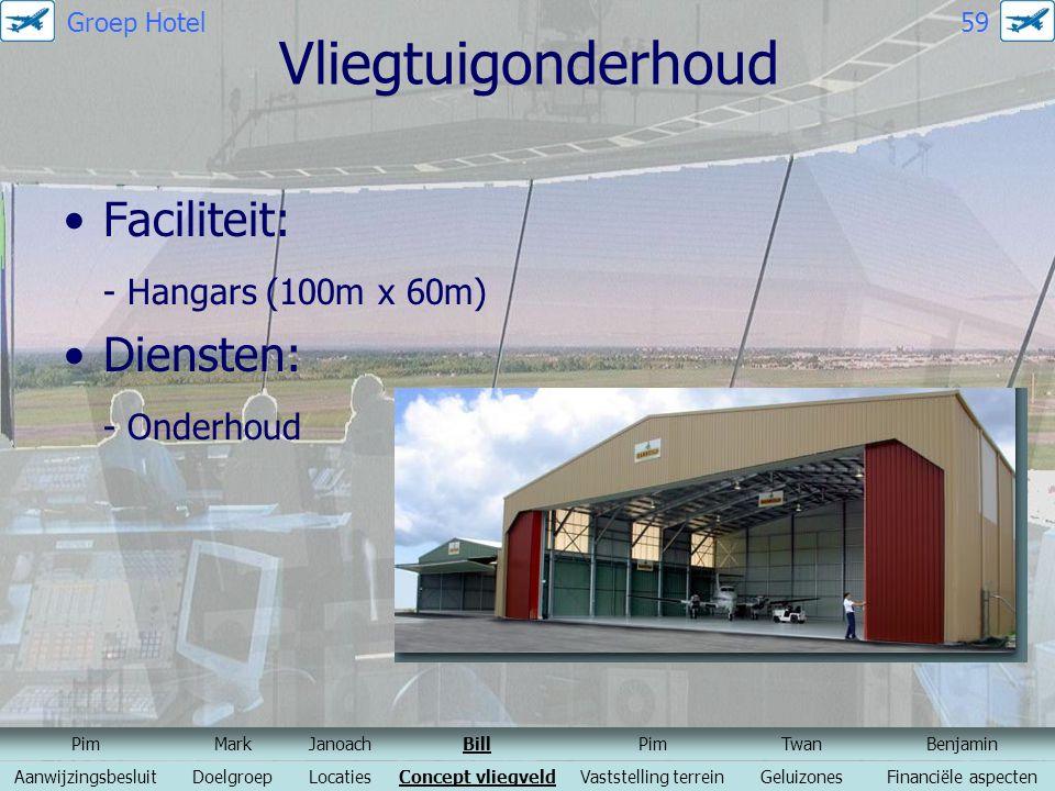Vliegtuigonderhoud Faciliteit: - Hangars (100m x 60m) Diensten: - Onderhoud PimMarkJanoachBillPimTwanBenjamin AanwijzingsbesluitDoelgroepLocatiesConce
