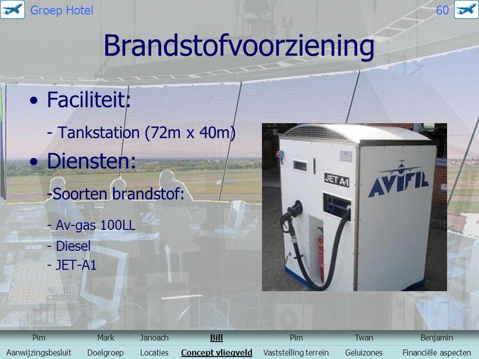 Brandstofvoorziening Faciliteit: - Tankstation (72m x 40m) Diensten: -Soorten brandstof: - Av-gas 100LL - Diesel - JET-A1 PimMarkJanoachBillPimTwanBen