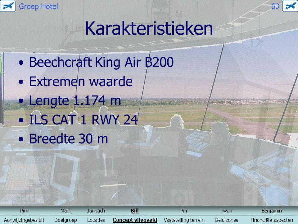 Karakteristieken Beechcraft King Air B200 Extremen waarde Lengte 1.174 m ILS CAT 1 RWY 24 Breedte 30 m PimMarkJanoachBillPimTwanBenjamin Aanwijzingsbe
