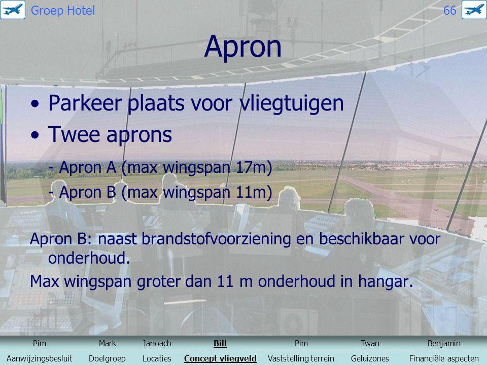 Apron Parkeer plaats voor vliegtuigen Twee aprons - Apron A (max wingspan 17m) - Apron B (max wingspan 11m) Apron B: naast brandstofvoorziening en bes