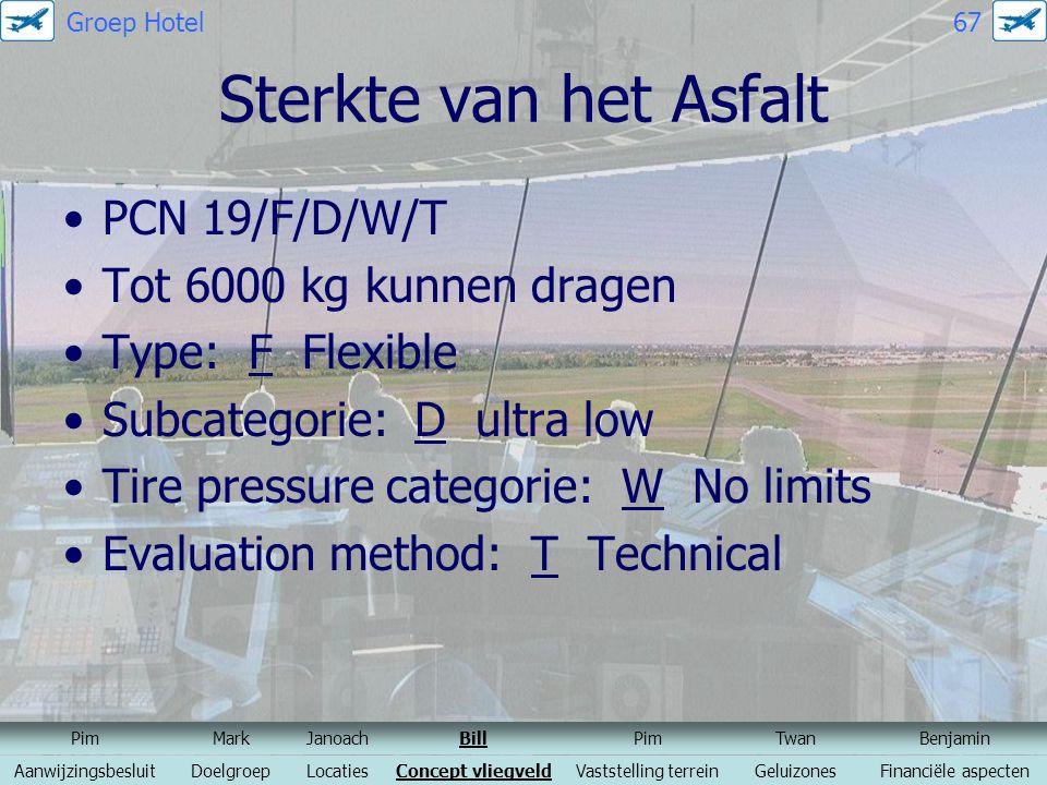 Sterkte van het Asfalt PCN 19/F/D/W/T Tot 6000 kg kunnen dragen Type: F Flexible Subcategorie: D ultra low Tire pressure categorie: W No limits Evalua