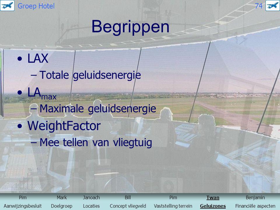 Begrippen LAX –Totale geluidsenergie LA max –Maximale geluidsenergie WeightFactor –Mee tellen van vliegtuig PimMarkJanoachBillPimTwanBenjamin Aanwijzi