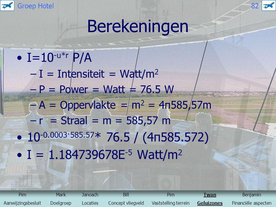 Berekeningen I=10 -u*r P/A –I = Intensiteit = Watt/m 2 –P = Power = Watt = 76.5 W –A = Oppervlakte = m 2 = 4π585,57m –r = Straal = m = 585,57 m 10 -0.