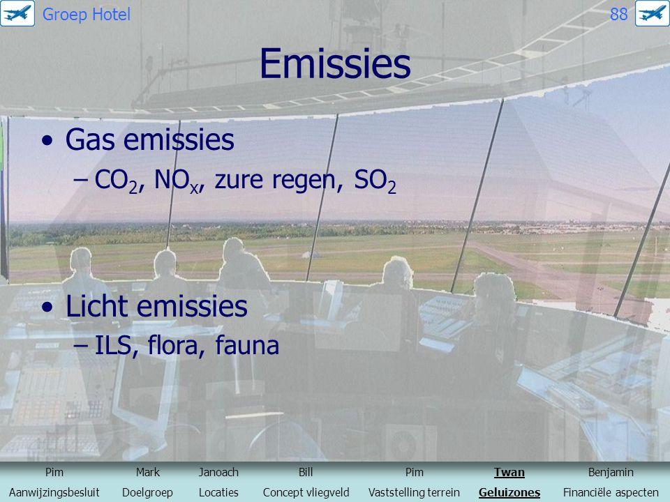 Emissies Gas emissies –CO 2, NO x, zure regen, SO 2 Licht emissies –ILS, flora, fauna PimMarkJanoachBillPimTwanBenjamin AanwijzingsbesluitDoelgroepLoc