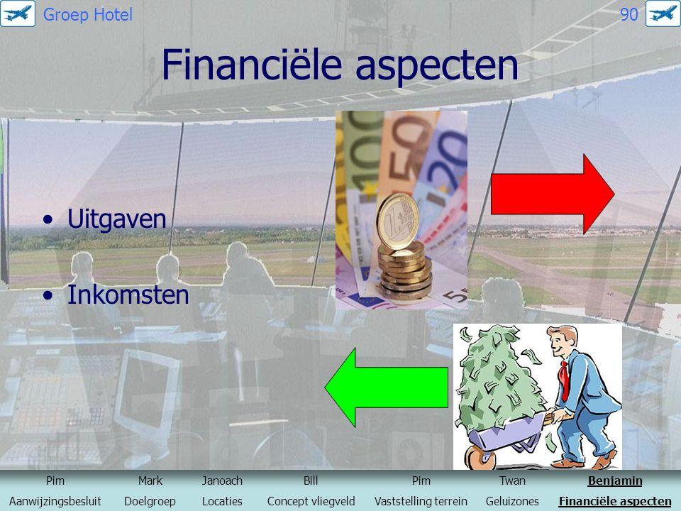 Financiële aspecten Uitgaven Inkomsten PimMarkJanoachBillPimTwanBenjamin AanwijzingsbesluitDoelgroepLocatiesConcept vliegveldVaststelling terreinGelui