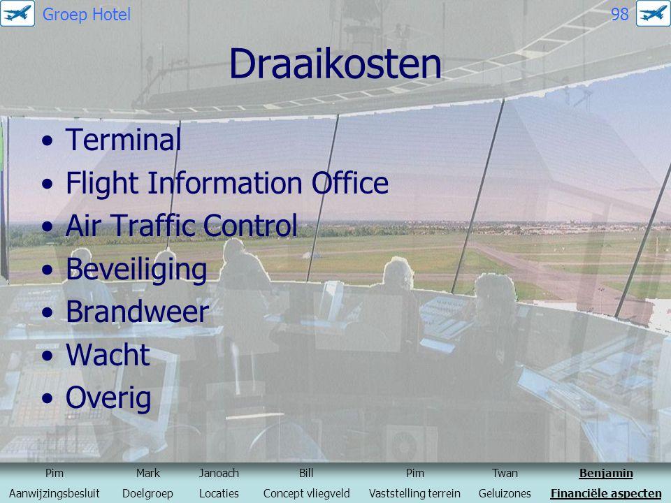 Draaikosten Terminal Flight Information Office Air Traffic Control Beveiliging Brandweer Wacht Overig PimMarkJanoachBillPimTwanBenjamin Aanwijzingsbes