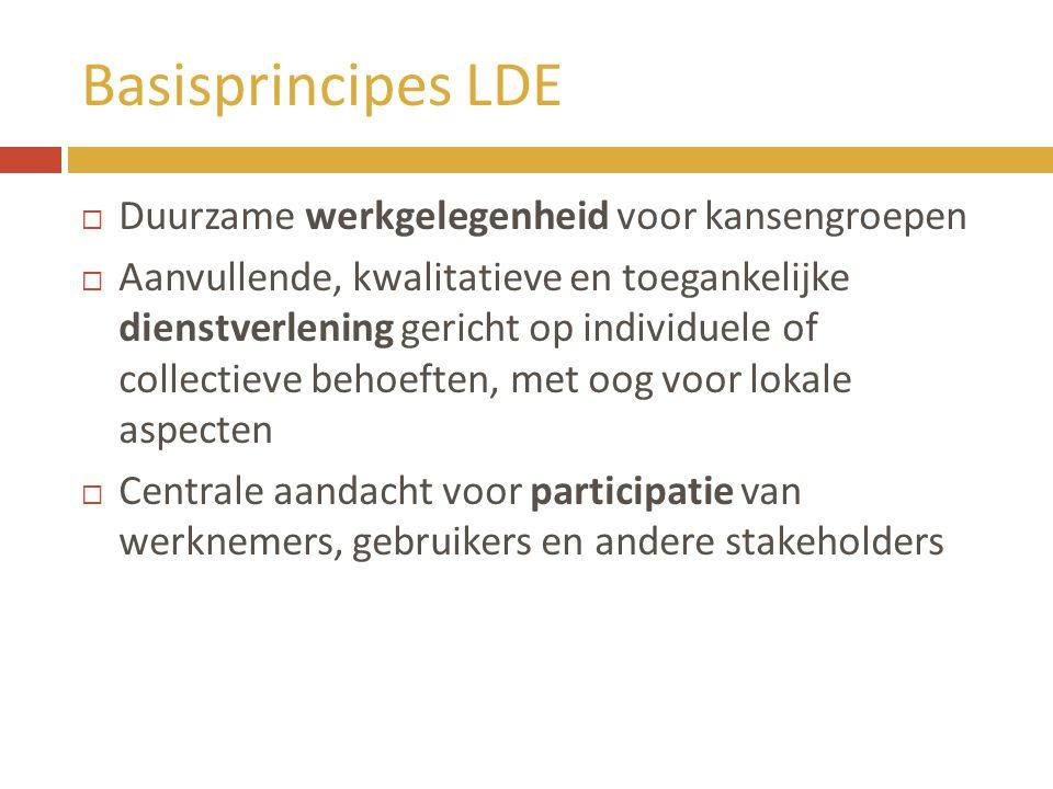 Basisprincipes LDE  Duurzame werkgelegenheid voor kansengroepen  Aanvullende, kwalitatieve en toegankelijke dienstverlening gericht op individuele o