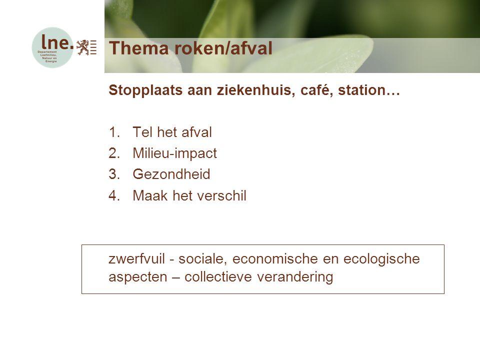 Thema roken/afval Stopplaats aan ziekenhuis, café, station… 1.Tel het afval 2.Milieu-impact 3.Gezondheid 4.Maak het verschil zwerfvuil - sociale, econ