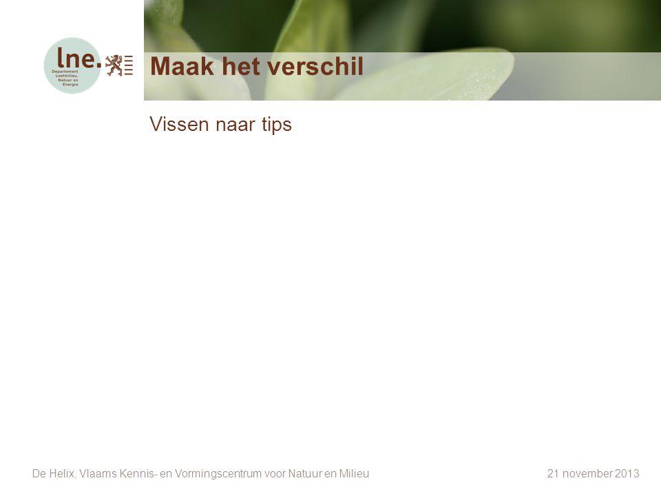 Maak het verschil Vissen naar tips De Helix, Vlaams Kennis- en Vormingscentrum voor Natuur en Milieu 21 november 2013