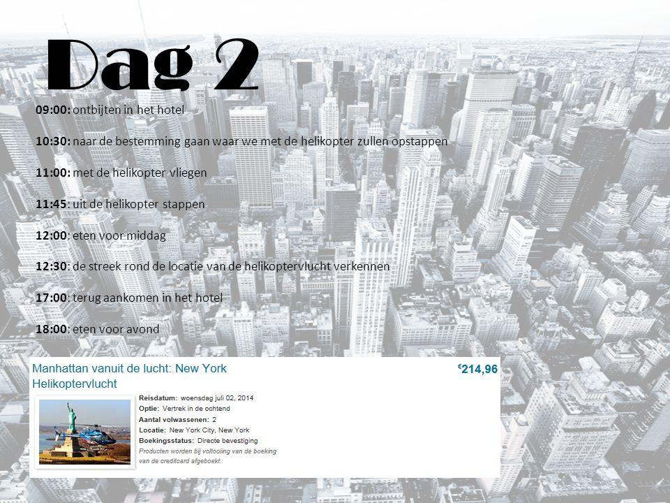 Dag 3 09:00: ontbijten in het hotel 10:00: met de metro vertrekken naar Upper East Side of Fifth Avenue om te shoppen.