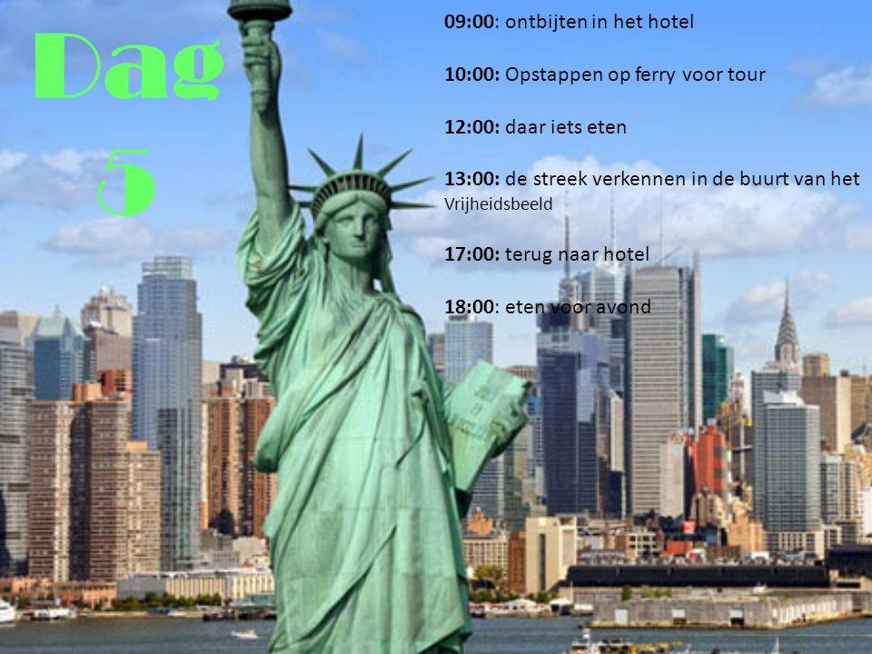Dag 5 09:00: ontbijten in het hotel 10:00: Opstappen op ferry voor tour 12:00: daar iets eten 13:00: de streek verkennen in de buurt van het Vrijheidsbeeld 17:00: terug naar hotel 18:00: eten voor avond