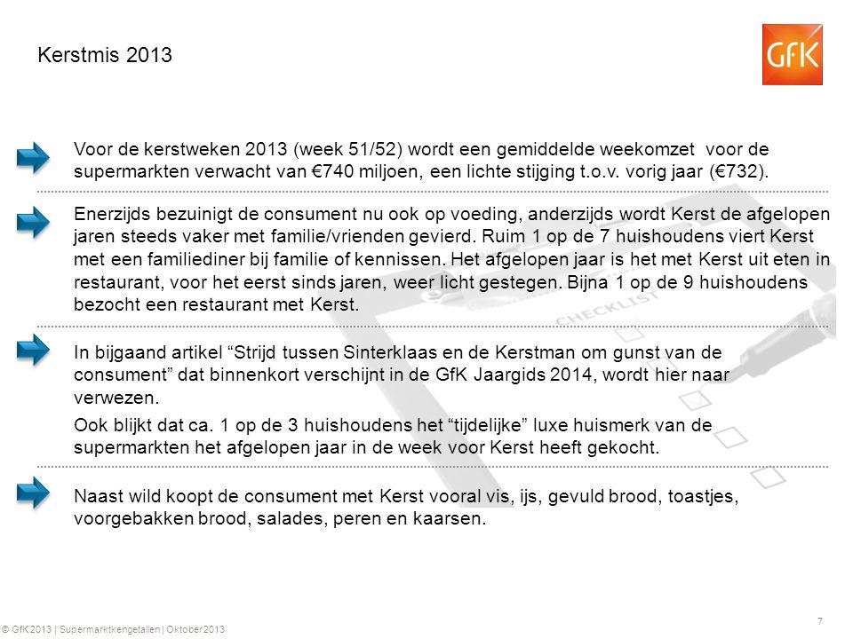 7 © GfK 2013 | Supermarktkengetallen | Oktober 2013 Kerstmis 2013 In bijgaand artikel Strijd tussen Sinterklaas en de Kerstman om gunst van de consument dat binnenkort verschijnt in de GfK Jaargids 2014, wordt hier naar verwezen.