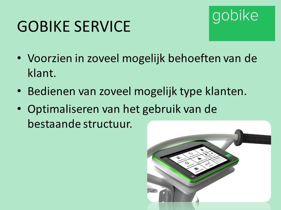 GOBIKE SERVICE Voorzien in zoveel mogelijk behoeften van de klant. Bedienen van zoveel mogelijk type klanten. Optimaliseren van het gebruik van de bes